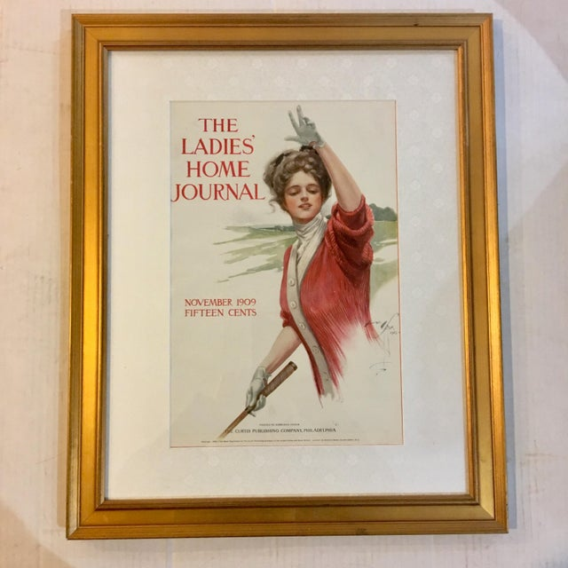 A very beautiful November 1909 The Ladies Home Journal Magazine cover art by Harrison Fisher of a young lady golfer. A...