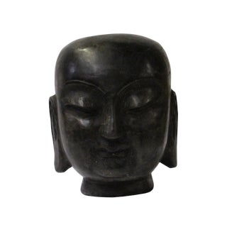 Chinese Oriental Black Stone Carved Monk Head Figure For Sale