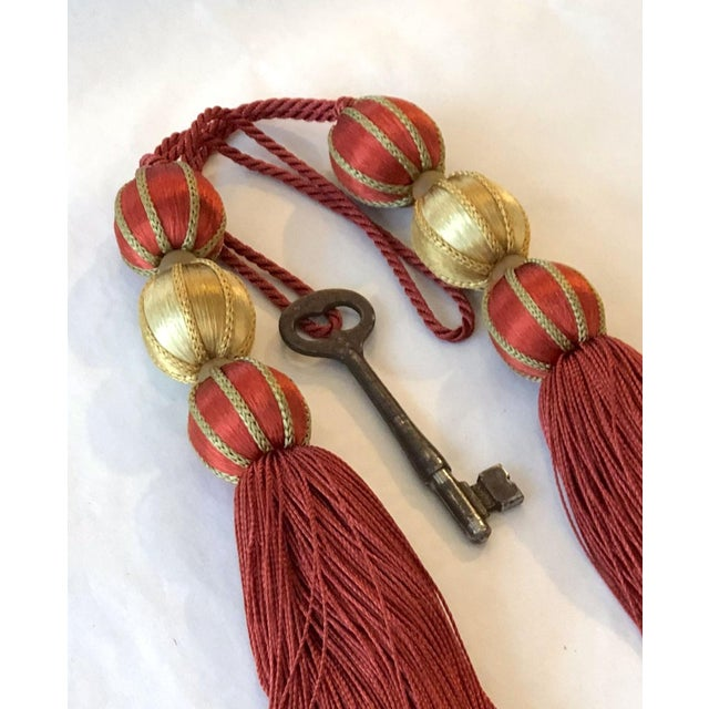 """Wood Beaded Key Tassel in Red & Gold - 7.5"""" For Sale - Image 7 of 8"""