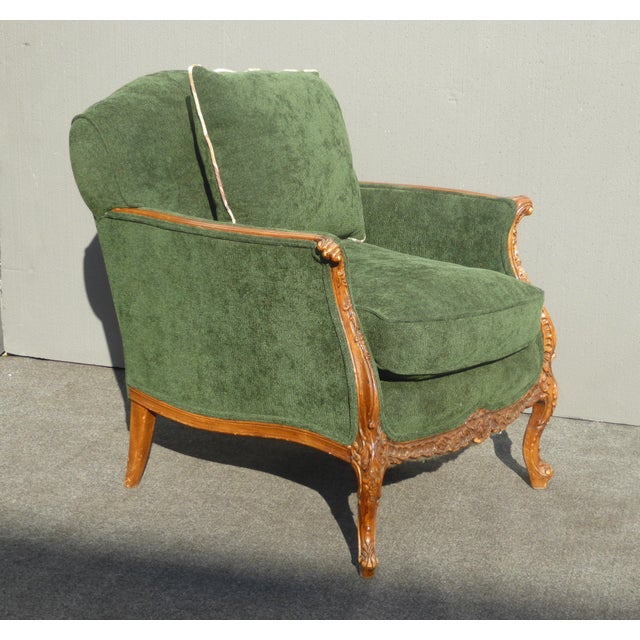Vintage French Louis XV Style Forest Green Velvet Arm Chair For Sale In Los Angeles - Image 6 of 11
