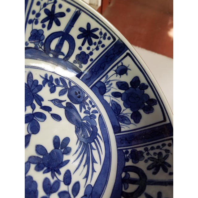 1990s Chinese Blue and White Hand Painted Porcelain Bowl For Sale - Image 5 of 7