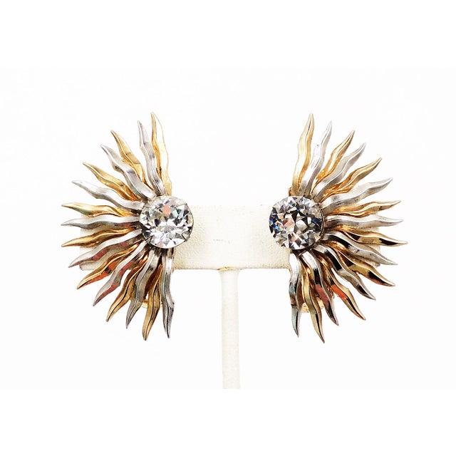 Napier 1950s Napier Sunburst Rhinestone Earrings For Sale - Image 4 of 10