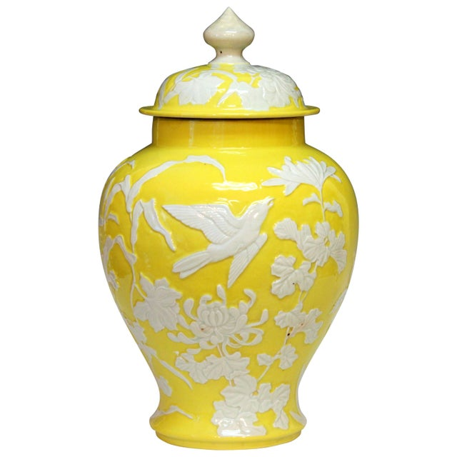 Large Antique Japanese Carved Studio Porcelain Yellow Covered Urn Vase For Sale - Image 11 of 11