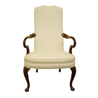 Late 20th Century Hickory Chair Solid Mahogany Queen Anne Style Upholstered Dining Arm Chair For Sale