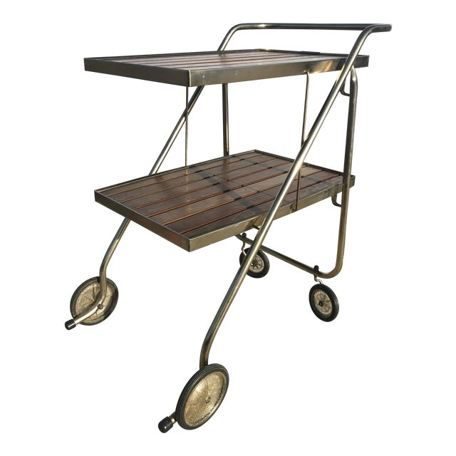 Mid-Century Wood Slat & Metal Rolling Bar Cart - Image 1 of 10