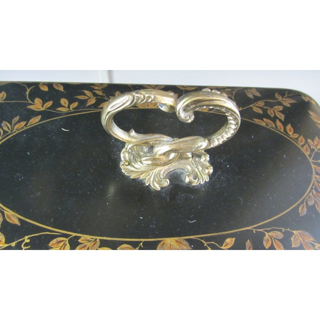 Large Black & Gold Tole Bin - Image 4 of 6