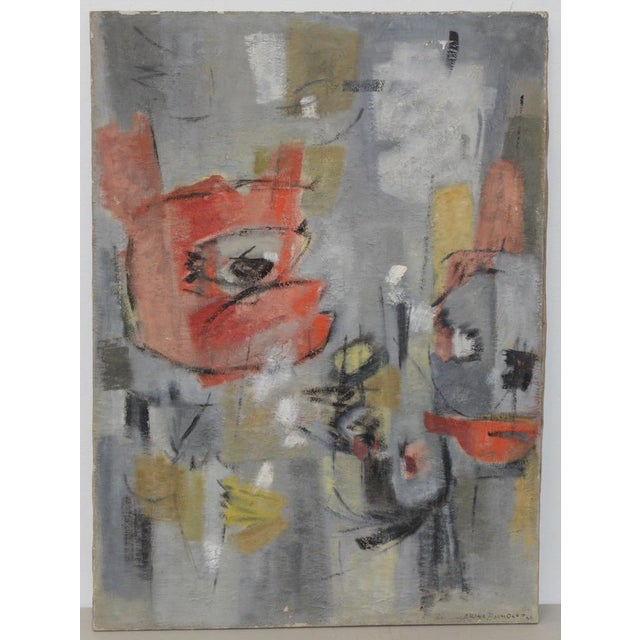 Mid Century Modern Abstract by Erika Baumgart c.1964 Fantastic mid modern oil painting signed and dated by Erika Baumgart....