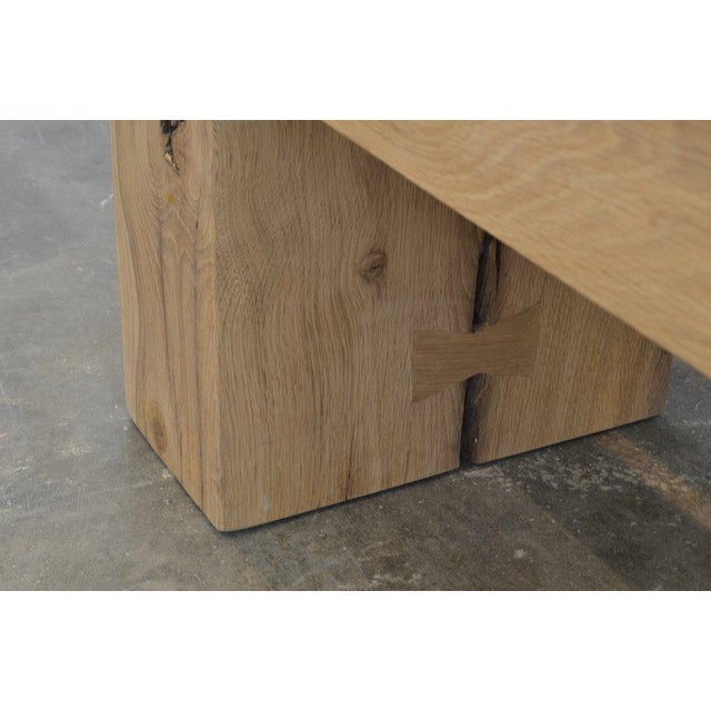 French Ozshop Antique Oak Waterfall Leg Beam Bench For Sale - Image 3 of 5