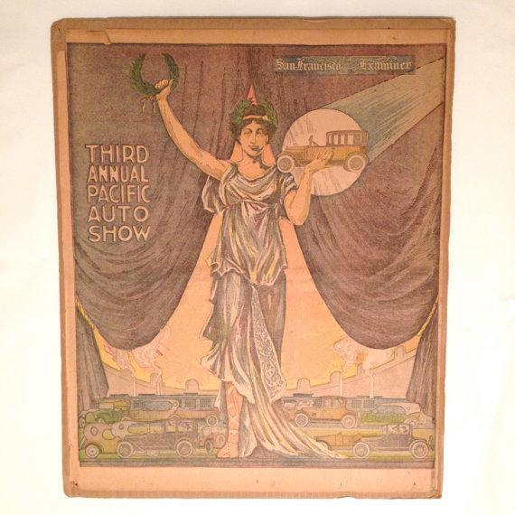Antique San Francisco Examiner Auto Show Print - Image 2 of 6