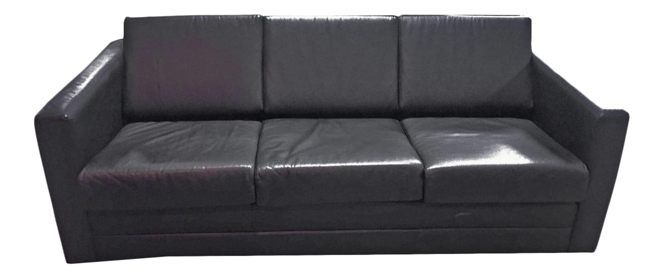 Mid Century Modern Minimalist Black Leather 3 Seater Sofa By Brayton
