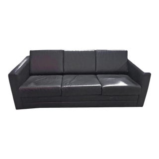 Mid Century Modern Minimalist Black Leather 3 Seater Sofa by Brayton International