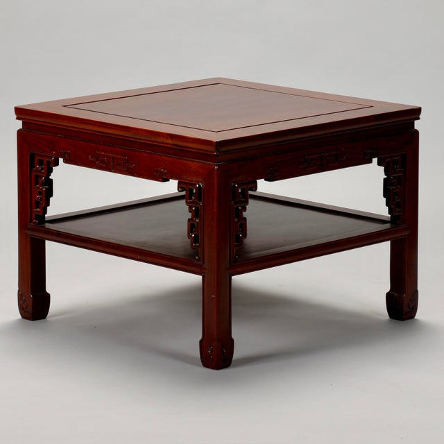 Chinese Carved Wooden Square Cocktail Table c.1930s - Image 3 of 7