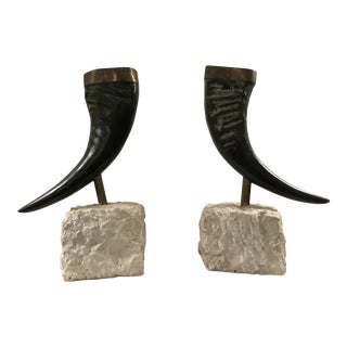 Pair of Maitland Smith Mounted Horns For Sale