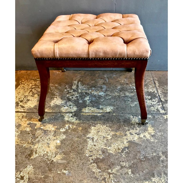 Early 20th Century Regency-Style Tufted Leather Bench For Sale - Image 5 of 6