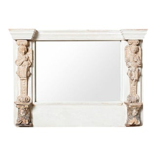 Antique 1750s French Cherubim Mantel Mirror For Sale