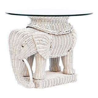 Wicker Elephant Side Table W/ Glass Top For Sale