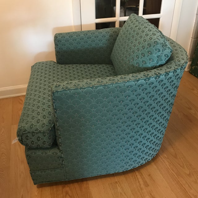 Teal Barrel Back Club Chair For Sale - Image 4 of 6