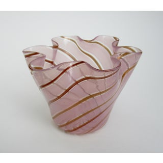 C.1950s Fratelli Toso Italian Hand-Blown Pink and Gold Striation Handkerchief Accent Preview