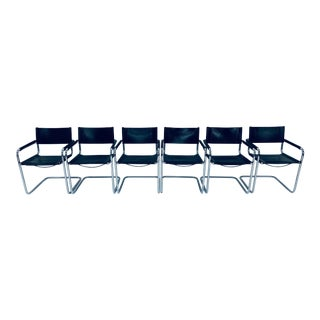 Mart Stam Chrome and Leather Armchairs for Fasem - Set of 6 For Sale