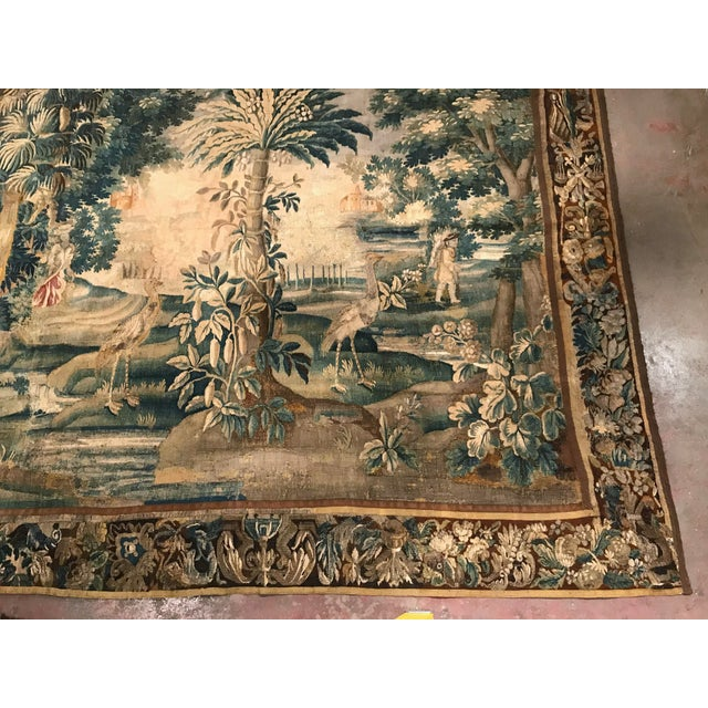 Large 18th Century French Aubusson Tapestry with Trees Birds and People - Image 5 of 11