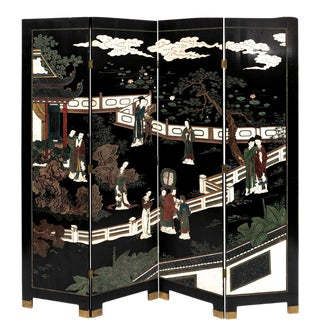 Early 20th Century Chinese Four-Panel Lacquered and Painted Screen For Sale