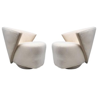 Pair Sculptural Swivel Lounge Chairs by Directional