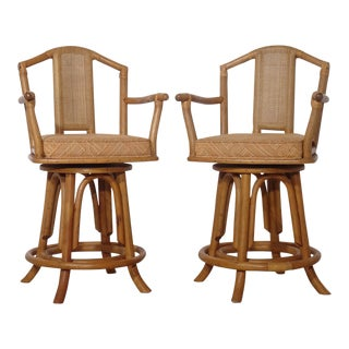 Bentwood Caned Back Bamboo Bar Stools - a Pair For Sale