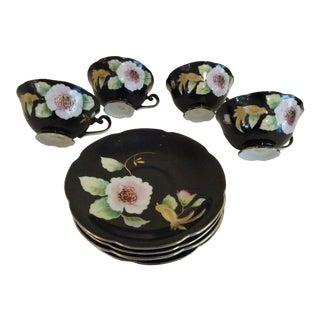 Black Floral & Gold Trim Porcelain Cups & Saucers - Set of 4 For Sale