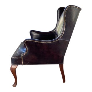 Mid Century Hickory Leather Wing Back Chair - Signed and Dated 1964 For Sale