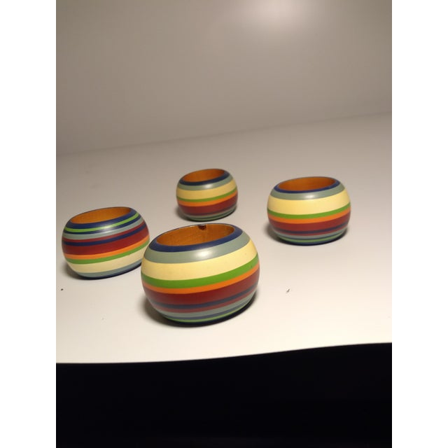 Boho Chic Vintage Round Multi Colored Striped Napkin Rings - Set of 4 For Sale - Image 3 of 6