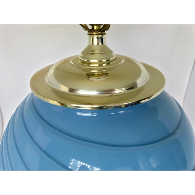 Art Deco Sky Blue Glass Table Lamp - Image 6 of 9