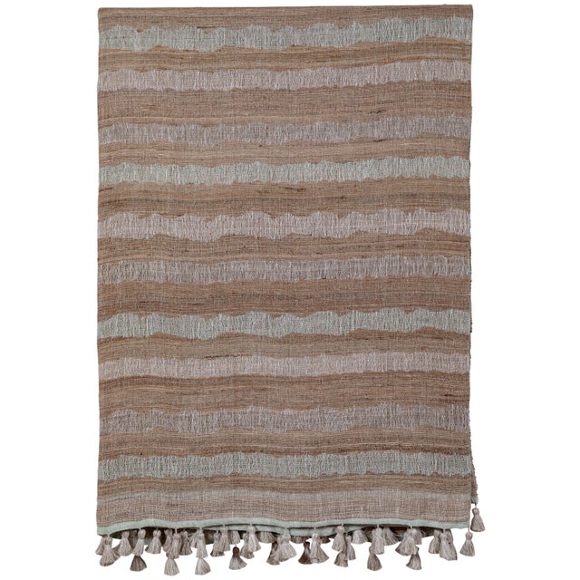 2010s Indian Handwoven Bedcover Ocean Stripe For Sale - Image 5 of 5