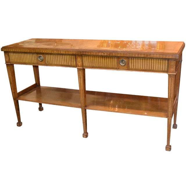 Edwardian Marquetry Inlaid Console Table For Sale