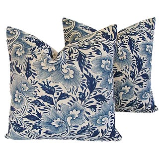 "Custom Indigo Blue Floral Linen Feather/Down Pillows 20"" Square - Pair For Sale"