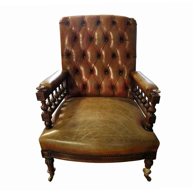 20th Century Traditional Chesterfield Leather Corner Chair For Sale - Image 4 of 4