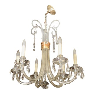Mid Century Italian Glass Chandelier with Brass Detailing For Sale