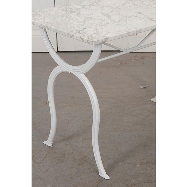 Iron French 19th Century White Marble-Top Bistro Table For Sale - Image 7 of 13
