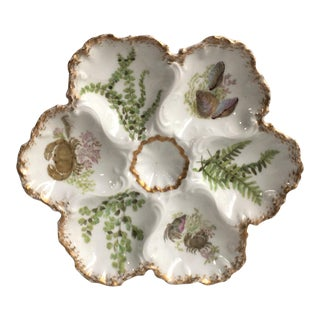 Porcelain Oyster Plate With Seaweeds & Crabs Limoges, Circa 1900 For Sale