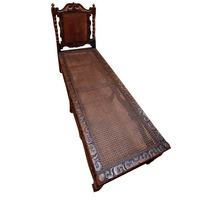 20th Century Jacobean Style Caned Chaise Lounge For Sale - Image 9 of 10