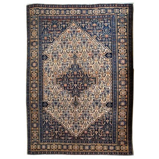1920s Handmade Antique Persian Bibikabab Rug 3.3' X 5.2' For Sale