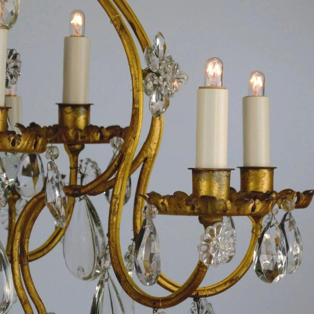 Continental Iron & Crystal Chandelier For Sale In Denver - Image 6 of 11
