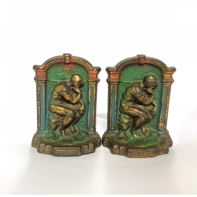 "Gold 1920's Art Deco Cast Metal ""The Thinker"" Bookends - a Pair For Sale - Image 7 of 7"
