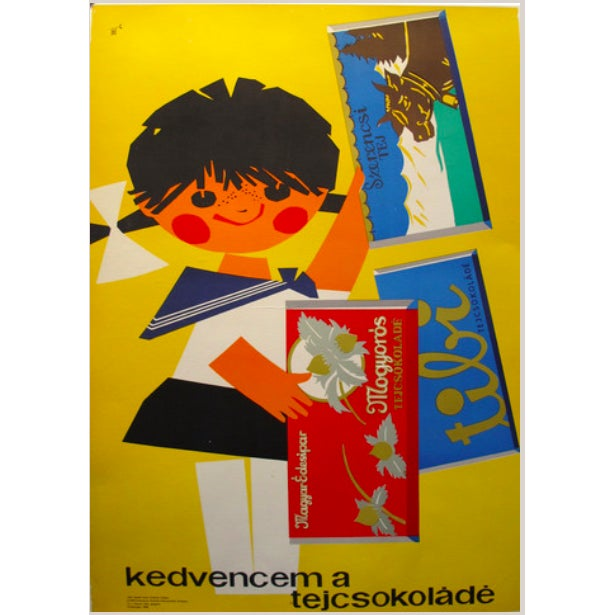 Original Hungarian Swinging 60's Chocolate Poster - Image 1 of 4