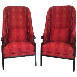 Asian Inspired Tall Back Armchairs by Milo Baughman - A Pair For Sale
