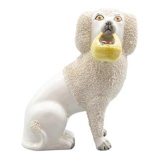 Vintage English Staffordshire Poodle Dog Figurine With Basket For Sale