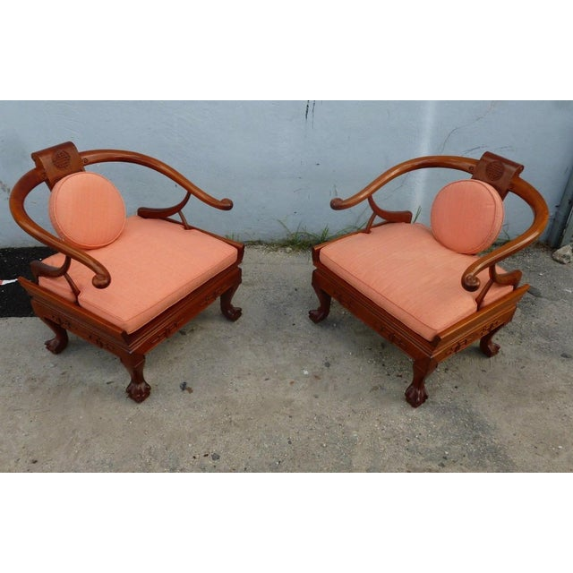 Superb mid centuryJames Mont style Ming chairs with great style &flair sold as found in original vintage condition without...