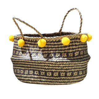 Borneo Huma Woven Straw Basket - Lemon Yellow