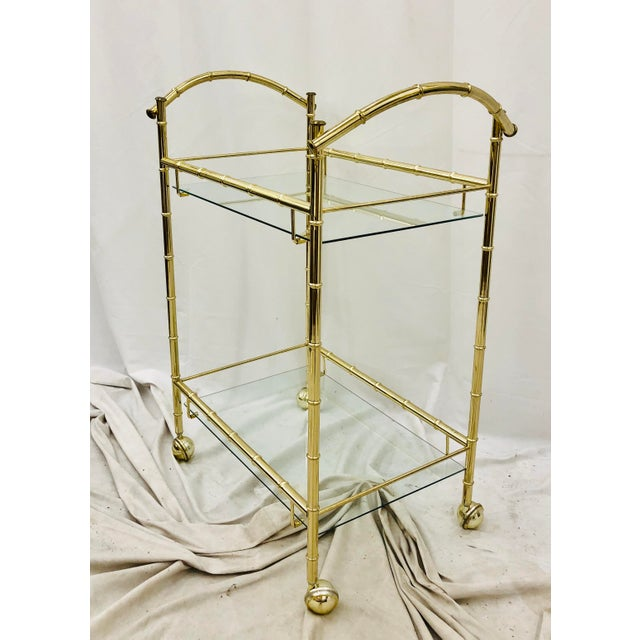 Vintage Hollywood Regency Faux Bamboo Bar Cart For Sale In Raleigh - Image 6 of 8