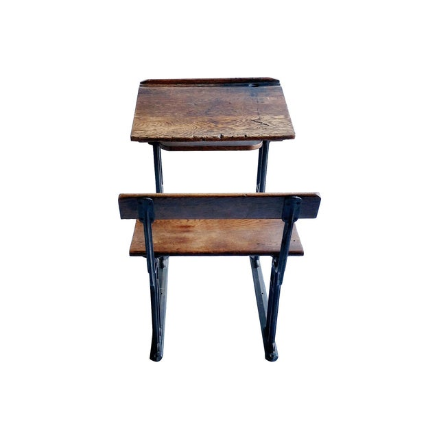 Industrial British Antique Oak & Iron Desk - Image 6 of 6