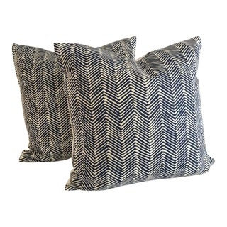 Alan Campbell for Quadrille Petite Navy on Tint Zig Zag Pillow Covers - a Pair